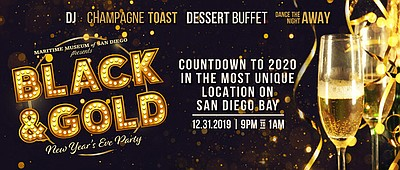 Promotional graphic for Black & Gold NYE Party On The Bay...