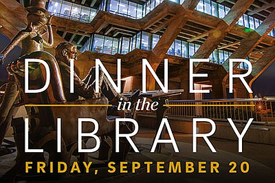 Promotional graphic for Dinner In The Library Gala. Court...