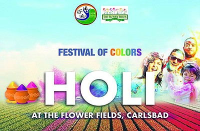 Promotional graphic for the Holi Festival of Colors. Cour...