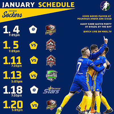 Photo of the January schedule. Courtesy of the San Diego ...