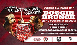 Promotional poster for the Valentine's Day Doggie Brunch....