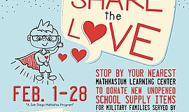 Promo graphic for 'Share The Love' School Supply Drive