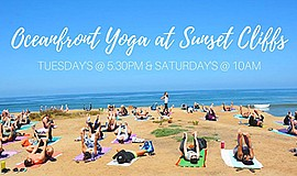 Promo graphic for Oceanfront Yoga At Sunset Cliffs