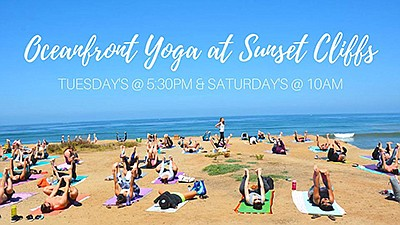 Promotional graphic for Oceanfront Yoga at Sunset Cliffs....