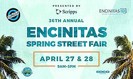Promotional graphic for Encinitas Spring Street Fair. Cou...