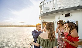 Promo graphic for Sights & Sips Cocktail Cruises