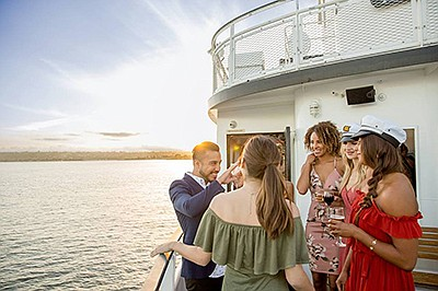 Promotional graphic for Sights & Sips Cocktail Cruises. C...
