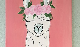 Promo graphic for Art Camp Trends; Llamas, SLoths, Flam...