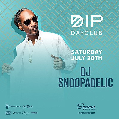 Promotional graphic for Dip Day Club With DJ Snoopadelic....