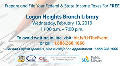 Promotional graphic for the free tax assistance event. Co...