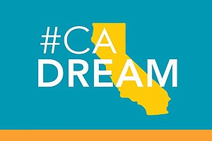 Graphic logo for The California Dream project, a statewide nonprofit media co...