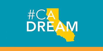 Graphic logo for The California Dream project, a statewid...
