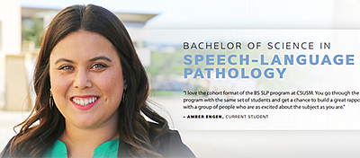 Promotional photo for the Bachelor of Science in SLP. Cou...