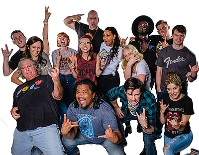 """A 2019 photo of the cast of Cygnet's """"Rock of Ages,"""" by K..."""