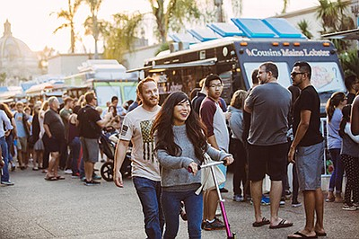 Promotional photo for Food Truck Fridays in Balboa Park. ...