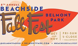 Promo graphic for Belmont Park's Beachside Fall Fest, I...
