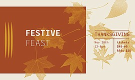 Promotional graphic for Thanksgiving Dinner at JRDN