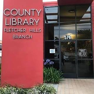 Exterior photo of the Fletcher Hills Branch Library