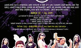 Graphic flyer for the Ladies Rock San Diego annual Camper...