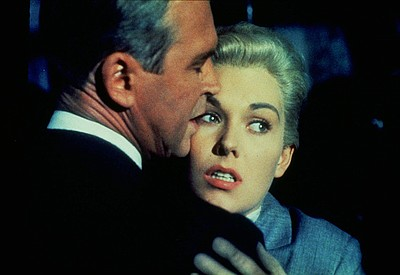 "James Stewart and Kim Novak in ""Vertigo"" (1958)."