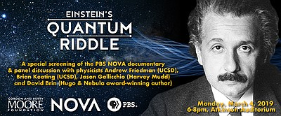 "Promotional graphic for the ""Einstein's Quantum Riddle"" S..."