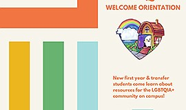 Promotional graphic for the UCSD LGBTQIA Welcome Orientation