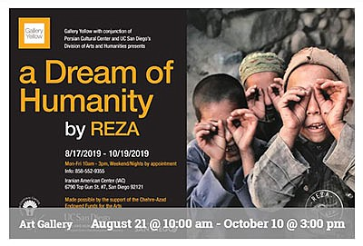 Promotional graphic for A Dream of Humanity by Reza. Cour...