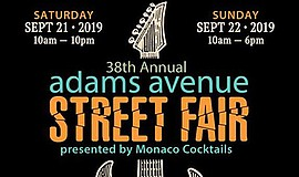 Promotional graphic for 2019 Adams Avenue Street Fair. Co...