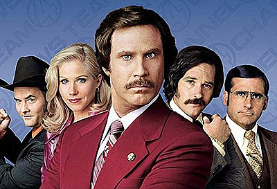 """Promotional film poster for the movie """"Anchorman"""". Courte..."""
