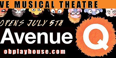 "A promotional poster for ""Avenue Q,"" courtesy of OB Playh..."