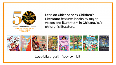 """Promotional graphic for the """"Lens on Chicana/o/x Children..."""