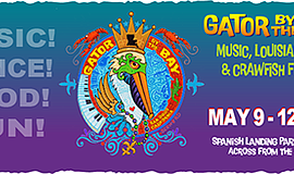 Promotional graphic for Gator By the Bay 2019 event. Cour...