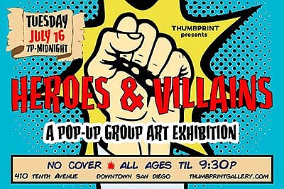 Promotional graphic for Heroes and Villains Pop-up art ex...