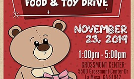 Promo graphic for Holiday Fair, Food & Toy Drive