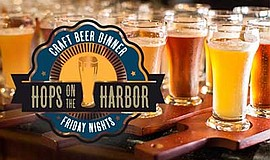 Promo graphic for Hops On The Harbor Craft Beer Dinner ...