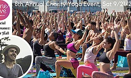 Promo graphic for One Love 8th Annual Charity Yoga Event