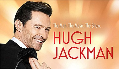 """Promotional graphic of Hugh Jackman: """"The Man. The Music...."""