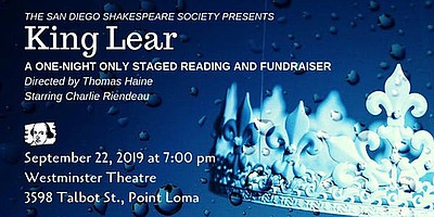"""Promotional graphic for the """"KING LEAR"""" Staged Reading an..."""