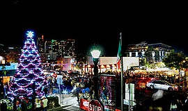 Promotional photo of Little Italy decorated for the holid...