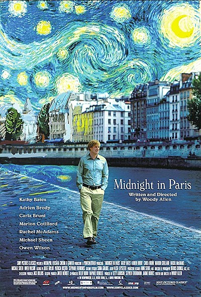 "Promotional film poster for ""Midnight in Paris"" movie. Co..."