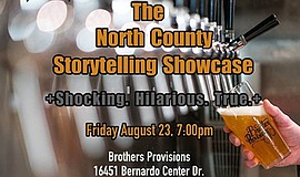 Promo graphic for So Say We All's North County Storytel...