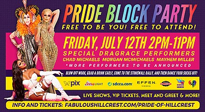 Promotional graphic for Pride of Hillcrest Block Party. C...