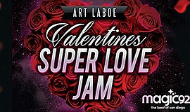 Promotional graphic for Valentine's Super Love Jam. Court...