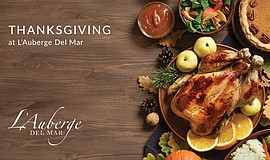 Promotional graphic for L'Auberge Del Mar's Thanksgiving
