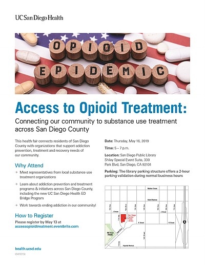 """Promotional graphic for """"Access To Opioid Treatment."""" Cou..."""