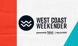 Promotional graphic for the West Coast Weekender event. P...