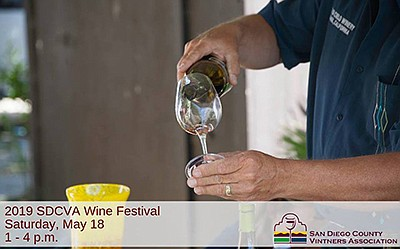 Promotional graphic for the 2019 SDCVA Wine Festival. Cou...