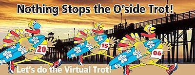 Promotional graphic for Virtual O'side Turkey Trot. Court...
