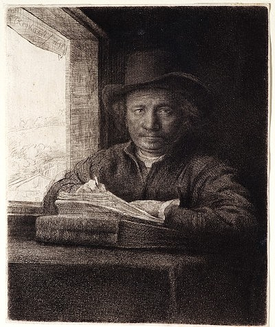 Self-Portrait, Etching at a Window by Rembrandt Harmensz ...