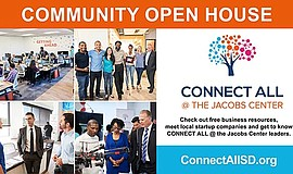 Promo graphic for CONNECT ALL @ Jacobs Center's Open House